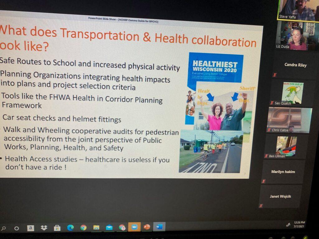 Screenshot of slide and Zoom meeting attendees
